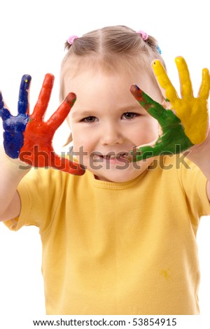 Cute cheerful child with painted hands, isolated over white - stock photo