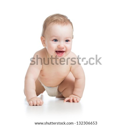 cute cheerful crawling baby boy isolated on white