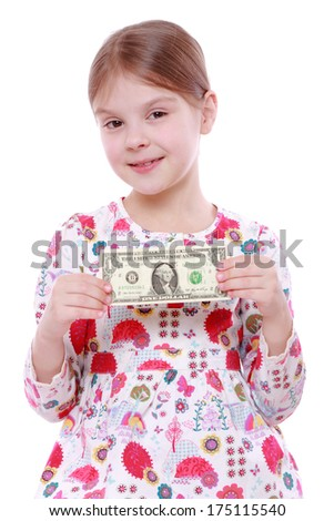 Cute cheerful little girl with paper money - dollars, isolated over white/little girl holding one dollar - stock photo