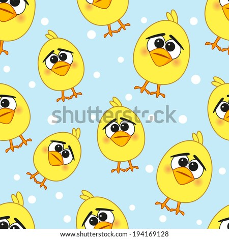 Cute chicken seamless pattern on a blue background - stock photo