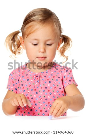 Cute child draw with chalk, isolated over white