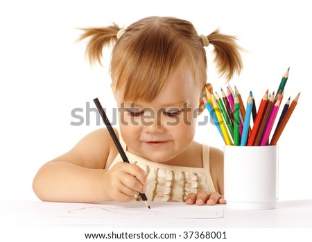 Cute child draw with color pencils, isolated over white - stock photo