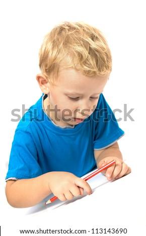 Cute child drawing - stock photo