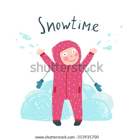Cute Child Girl in Winter Clothes Playing with Snow Colorful Childish Cartoon. Happy kid in mittens and seasonal clothes for cold weather. Hand drawn sketchy feel illustration. Raster variant. - stock photo