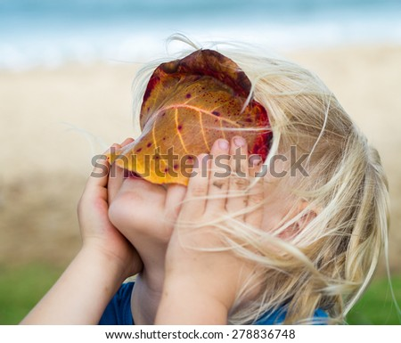 Cute child in nature looking through a leaf at beach - stock photo
