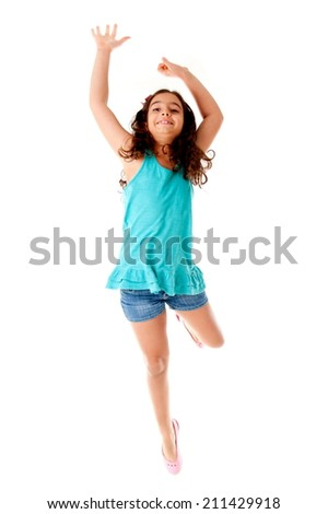 Cute Child jumping over white background. - stock photo
