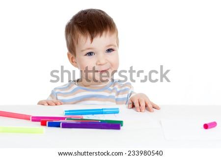 cute child kid boy writing felt-tipped pen - stock photo