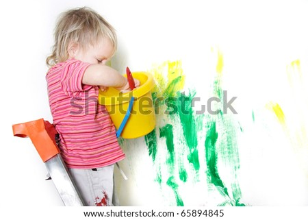 cute child painting over white - stock photo