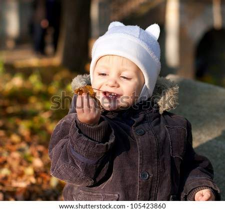Cute child played by leaves against the background autumn nature - stock photo