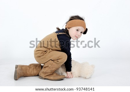 cute child playing on the floor - stock photo