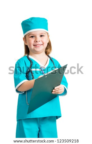Cute child uniformed as doctor over white background - stock photo
