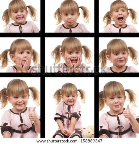 Cute child with different face expressions