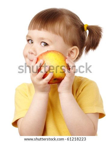 Cute child with red apple, isolated over white - stock photo
