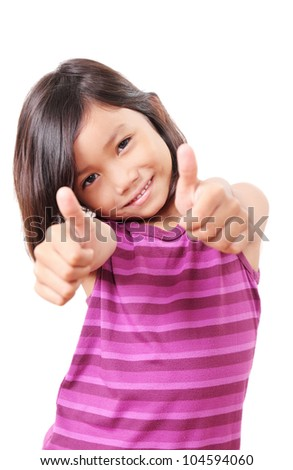 Cute child with thumbs up. - stock photo