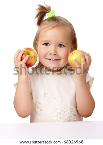 Cute child with two red apples, isolated over white