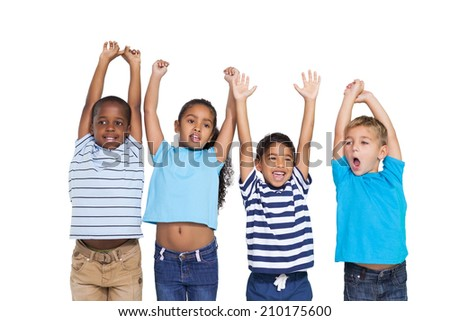 Cute children cheering at camera on white background - stock photo