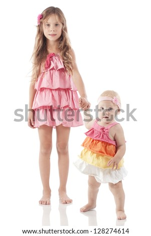Cute children isolated on white background - stock photo