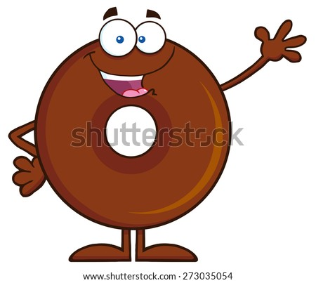 Cute Chocolate Donut Cartoon Character Waving. Raster Illustration Isolated On White - stock photo