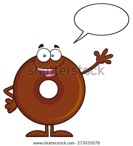 Cute Chocolate Donut Cartoon Character Waving. Raster Illustration Isolated On White With Speech Bubble - stock photo