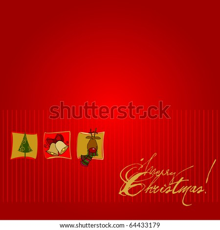 cute Christmas background for your greeting card - stock photo