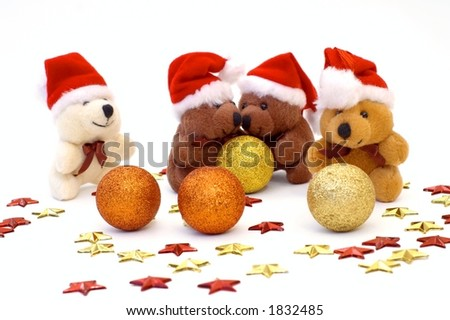 Cute Christmas bears with ornaments, shot over white