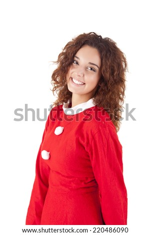Cute christmas girl smiling over white background