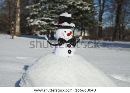 Cute Christmas snowman in snowy hill ball outdoors  - stock photo