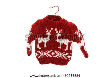 Cute Christmas sweater isolated on white background, Merry Christmas - stock photo