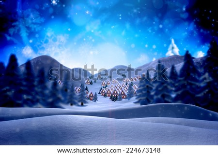 Cute christmas village against snowy landscape with fir trees - stock photo