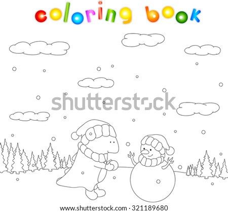 Cute chubby dragon sculpts snowman in a snowy forest. Christmas coloring for kids.  - stock photo