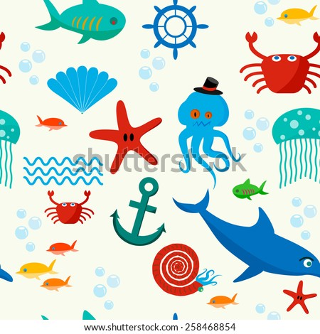 Cute collection of cartoon sea animals characters for children dormitory wallpaper decorative tileable abstract seamless  illustration. Flat design.
