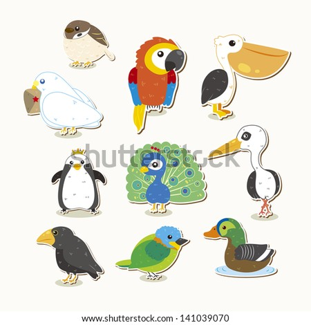 cute colorful birds set, illustrator