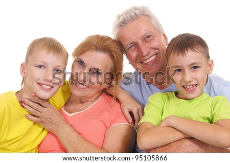 cute colorful family smiling on a white