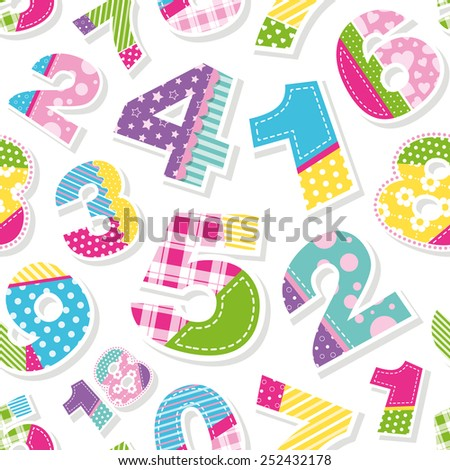 cute colorful numbers pattern illustration - stock photo