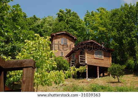 cute comfortable summer cottage - stock photo