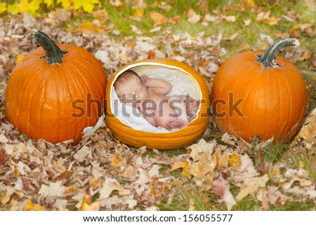 Cute concept image of a baby growing in a pumpkin patch in the fall.
