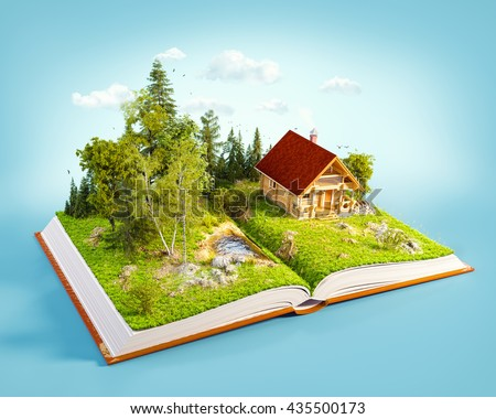Cute countryside log house in a wonderful forest on pages of opened book. Unusual 3D illustration.