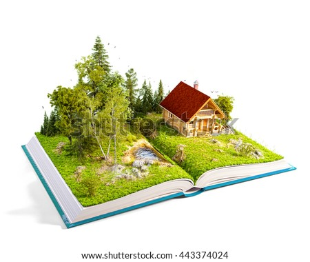 Cute countryside log house in a wonderful forest on pages of opened book. Unusual 3D illustration. Isolated