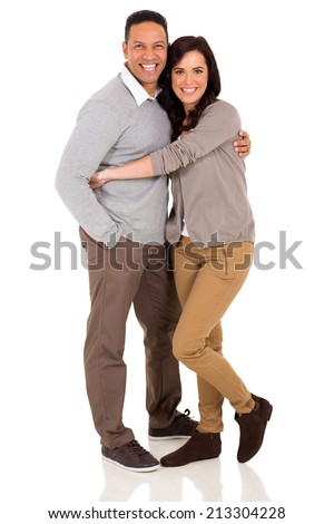 cute couple embracing on white background - stock photo