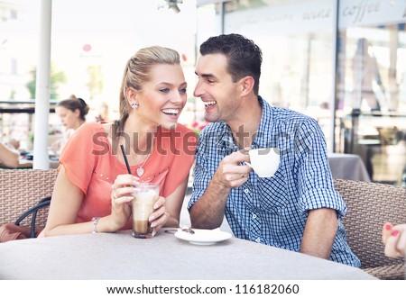 Cute couple having fun - stock photo