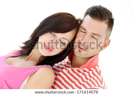 Cute couple on a white background