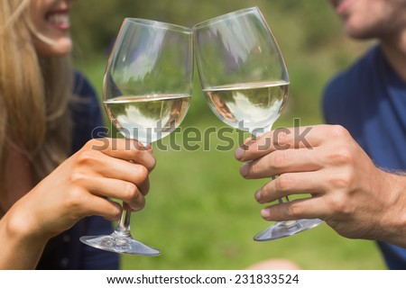 Cute couple toasting with white wine at home in the garden - stock photo