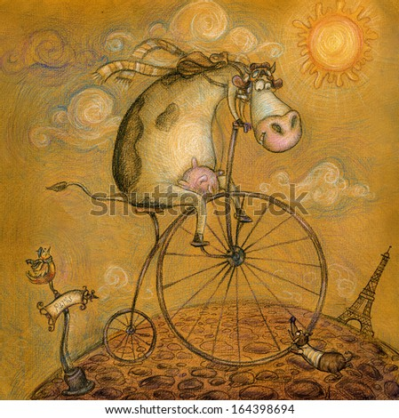 Cute cow on the bicycle.Vintage background.Children illustration. Cartoon childish background in vintage colors.Eiffel tower in Paris, post card in hand drawn style. - stock photo