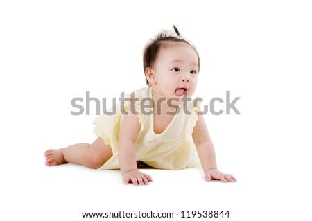 cute crawling baby girl - stock photo