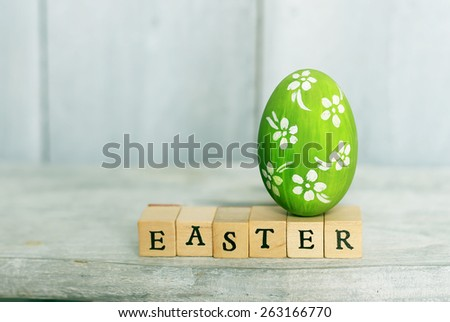 Cute creative photo with easter egg - stock photo