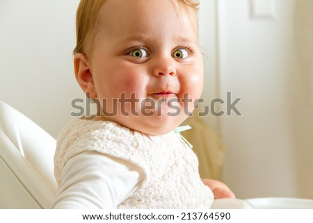 Cute, curious baby - stock photo