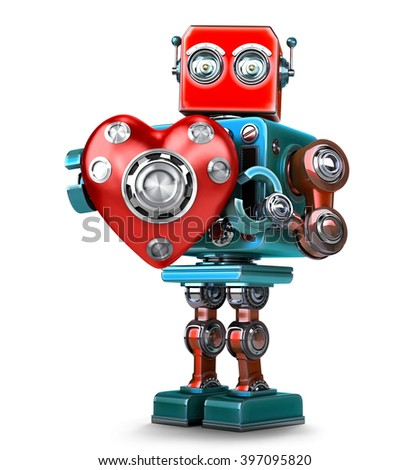 Cute 3d Retro Robot obot with red heart. Isolated over white. Contains clipping path - stock photo