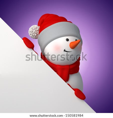 cute 3d snowman looking up behind the page corner, holding Christmas board - stock photo