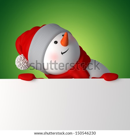 cute 3d snowman looking up, holding blank Christmas banner