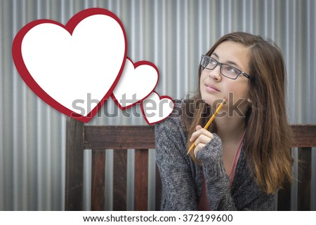 Cute Daydreaming Girl With Blank Floating Hearts Clipping Path Included. - stock photo